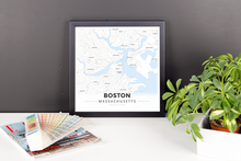 Framed Map Poster of Boston Massachusetts - Modern Ski Map - Boston Map Art