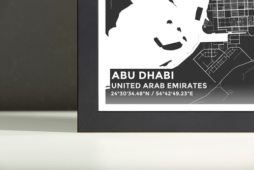 Framed Map Poster of Abu Dhabi United Arab Emirates - Subtle Contrast - Abu Dhabi Map Art