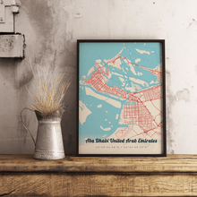 Premium Map Poster of Abu Dhabi United Arab Emirates - Lobster Retro - Unframed - Abu Dhabi Map Art