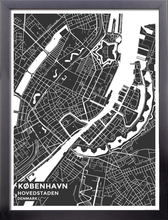 Framed Map Poster of Copenhagen Denmark - Subtle Contrast - Copenhagen Map Art