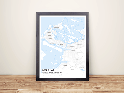 Framed Map Poster of Abu Dhabi United Arab Emirates - Subtle Ski Map - Abu Dhabi Map Art