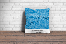 Map Throw Pillow of London England - Simple Blue Contrast
