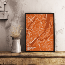 Premium Map Poster of Copenhagen Denmark - Subtle Burnt - Unframed - Copenhagen Map Art