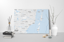 Gallery Wrapped Map Canvas of Miami Florida - Subtle Ski Map - Miami Map Art