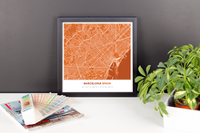 Framed Map Poster of Barcelona Spain - Simple Burnt