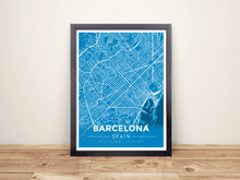 Framed Map Poster of Barcelona Spain - Modern Blue Contrast