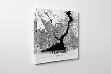Gallery Wrapped Map Canvas of Istanbul Turkey - Modern Black Ink