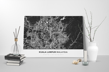 Gallery Wrapped Map Canvas of Kuala Lumpur Malaysia - Simple Contrast