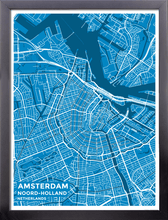 Framed Map Poster of Amsterdam Noord-Holland - Subtle Blue Contrast