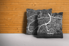Map Throw Pillow of Taipei Taiwan - Modern Contrast