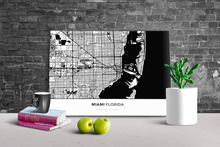 Gallery Wrapped Map Canvas of Miami Florida - Simple Black Ink - Miami Map Art