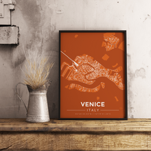 Premium Map Poster of Venice Italy - Modern Burnt - Unframed - Venice Map Art