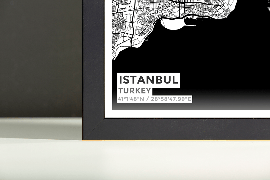 Framed Map Poster of Istanbul Turkey - Subtle Black Ink
