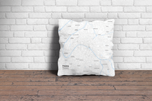 Map Throw Pillow of Paris France - Subtle Ski Map