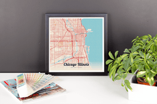 Framed Map Poster of Chicago Illinois - Lobster Retro - Chicago Map Art