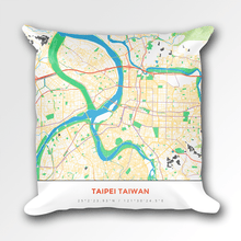 Map Throw Pillow of Taipei Taiwan - Simple Colorful