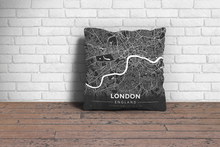 Map Throw Pillow of London England - Modern Contrast