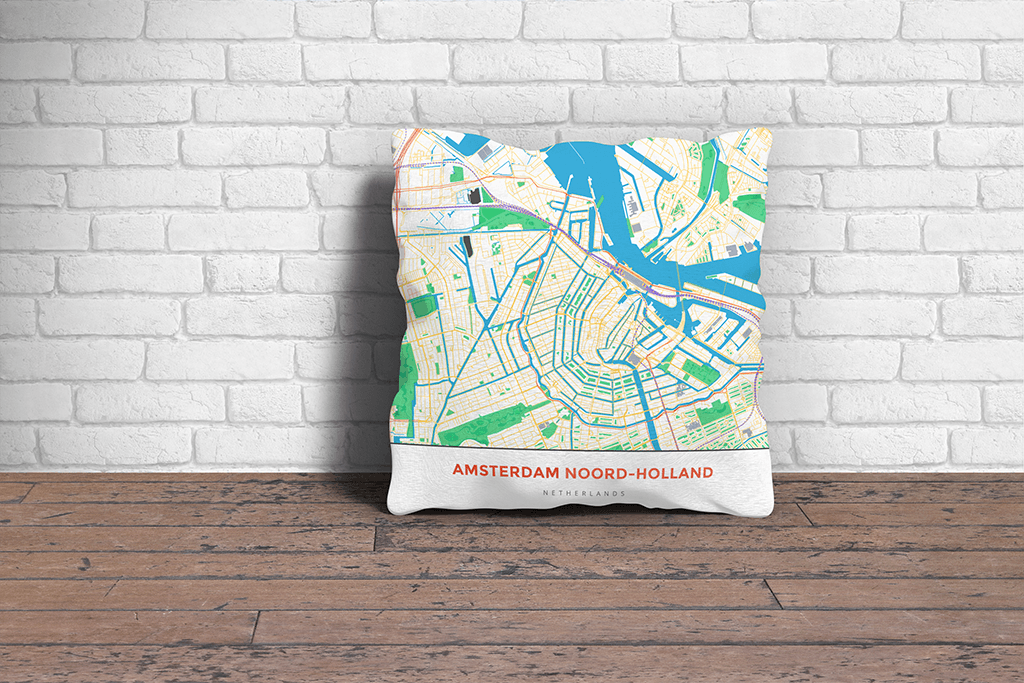 Map Throw Pillow of Amsterdam Noord-Holland - Simple Colorful