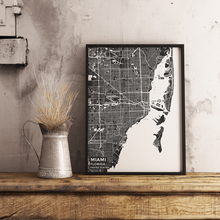 Premium Map Poster of Miami Florida - Subtle Contrast - Unframed - Miami Map Art