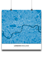 Premium Map Poster of London England - Simple Blue Contrast - Unframed