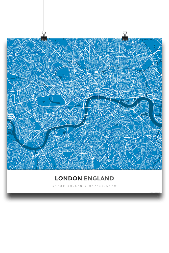 premium map poster of london england simple blue contrast unframed