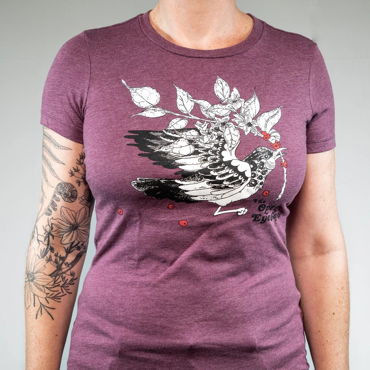 Open Eye Heather Maroon Fitted T-Shirt