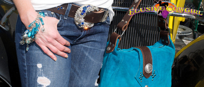 turquoise western leather purses and cowgirl charm bracelets