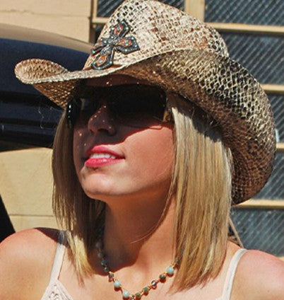 western cowgirl hats with crosses and rhinestones. Perfect cowgirl hat for those hot summer days at the music festival