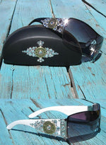 Rhinestone cowgirl sunglasses with 12 gauge shotgun shell concho white, black or brown sunglass  frame