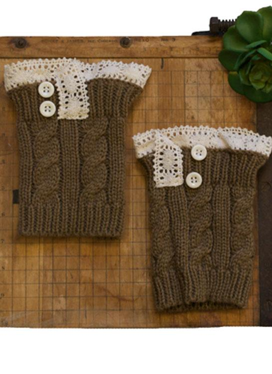 Boot Cuffs - Knit Brown - Elusive Cowgirl Boutique
