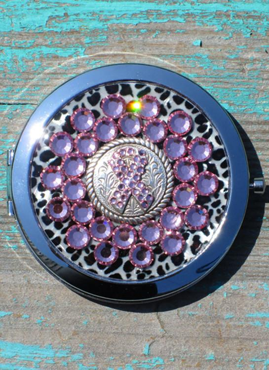 RHINESTONE COMPACT WITH MIRROR PINK CRYSTALS AND BREAST CANCER SUPPORT METAL CONCHO