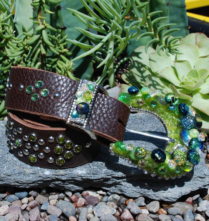 Western Green Buckle & Belt - Small - Elusive Cowgirl Boutique