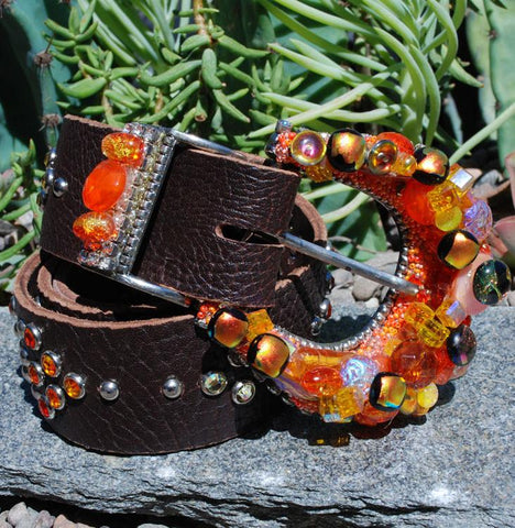 """Orange Dichroic Buckle & Belt - Small"" - Elusive Cowgirl Boutique"