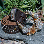 Vintage Rhinestone Belt & Buckle - Large - Elusive Cowgirl Boutique