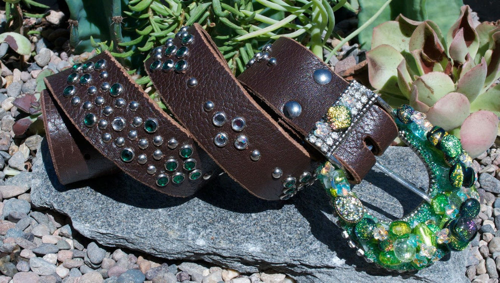 """Green  Dichroic Buckle & Belt - Small"" - Elusive Cowgirl Boutique"