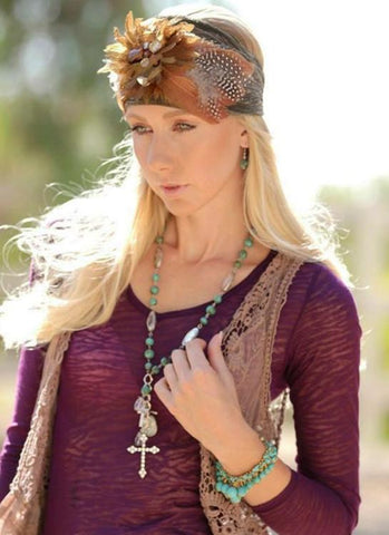 Jeweled Hippie Cowgirl Headwrap - Elusive Cowgirl Boutique