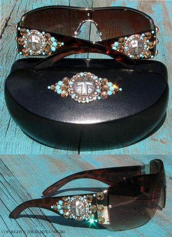 Cross Concho sunglasses with brown turquoise and clear crystals on a brown frame