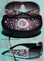 limited edition cross concho western sunglasses gypsy junk style with tons of crystals in pink and AB swarovski crystals on a black frame