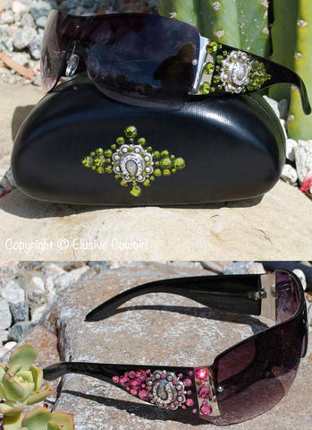 Western sunglasses black or brown sunglass frame with metal horseshoe concho with colored swarovski crystals
