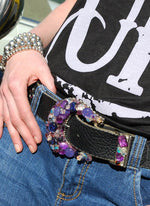 """Purple Dichroic Buckle & Belt - Small"" - Elusive Cowgirl Boutique"