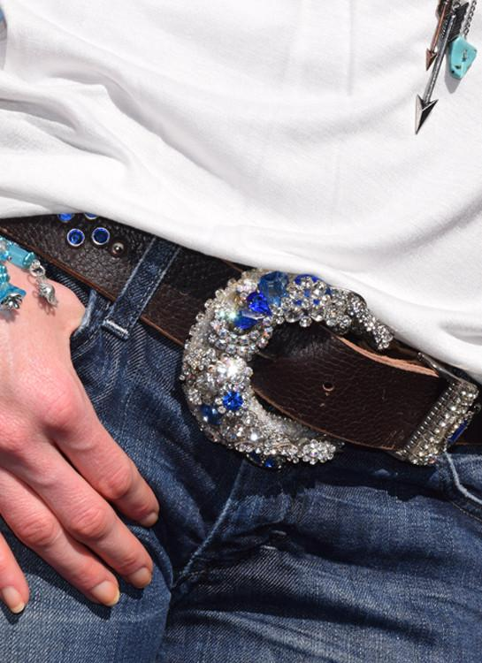 """Vintage Rhinestone Buckle & Belt - Small"""