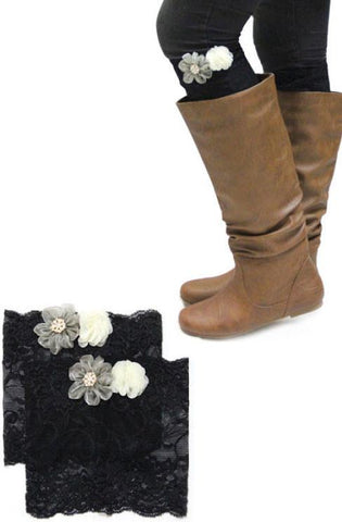 Lace Flower Boot Cuffs - Elusive Cowgirl Boutique