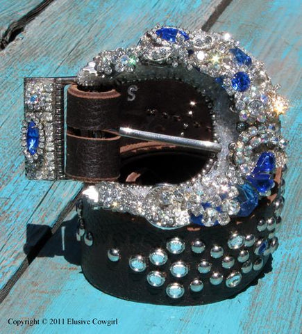"""Vintage Rhinestone Buckle & Belt - Small"" - Elusive Cowgirl Boutique"