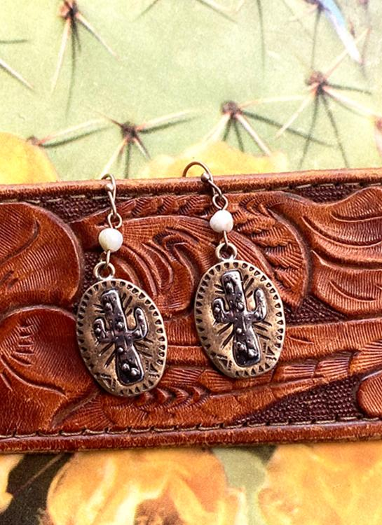 Metal Cactus Earrings - Elusive Cowgirl Boutique