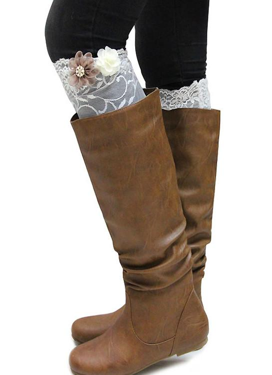 Lace Flower Boot Cuffs