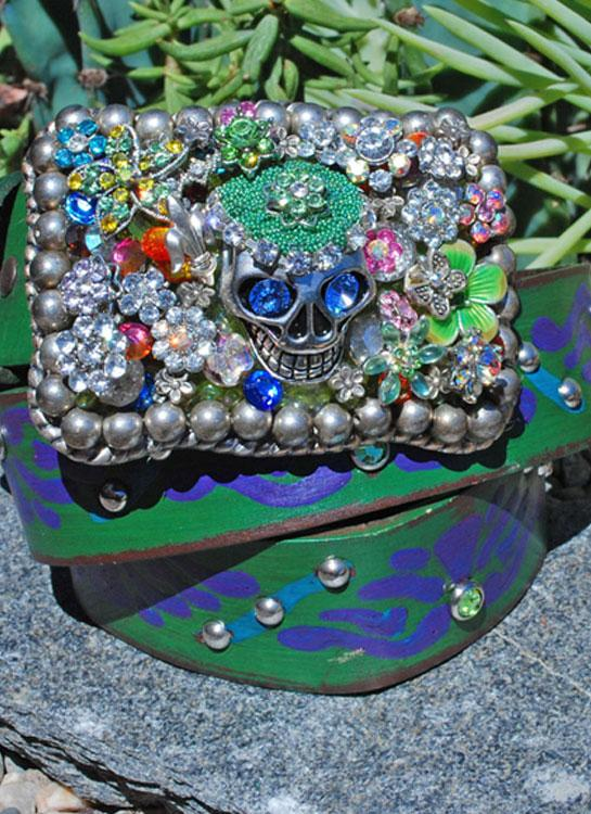 Gypsy Skull Buckle & Belt - Large - Elusive Cowgirl Boutique