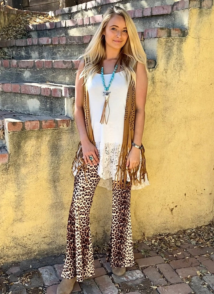 Leopard Bell Bottom Leggings - Elusive Cowgirl Boutique