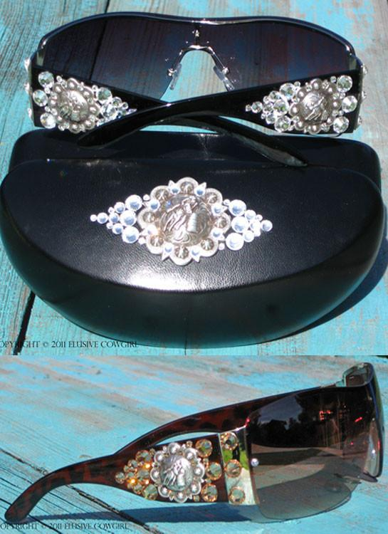 barrel racer concho sunglasses with rhinestones and matching sunglass case