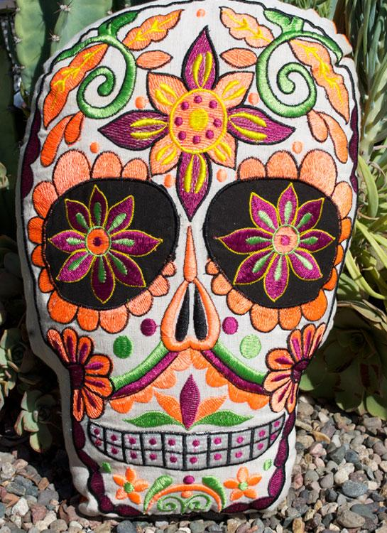 Pillow - Embroidered Sugar Skull