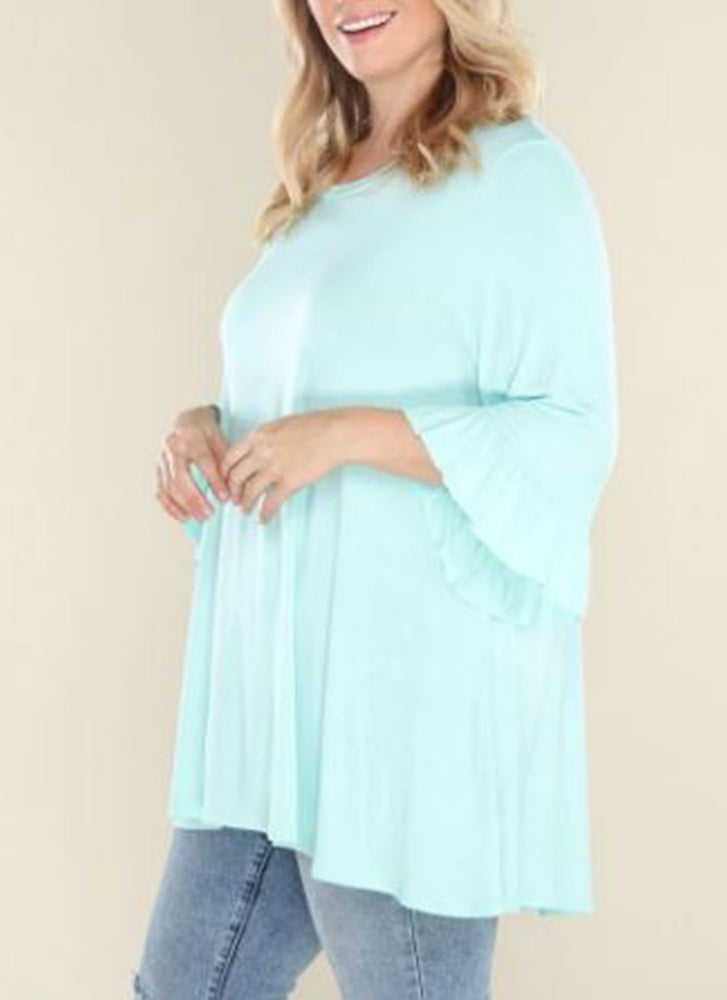 Plus Mint Bell Sleeve Top
